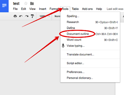 how to manually add outline google docs
