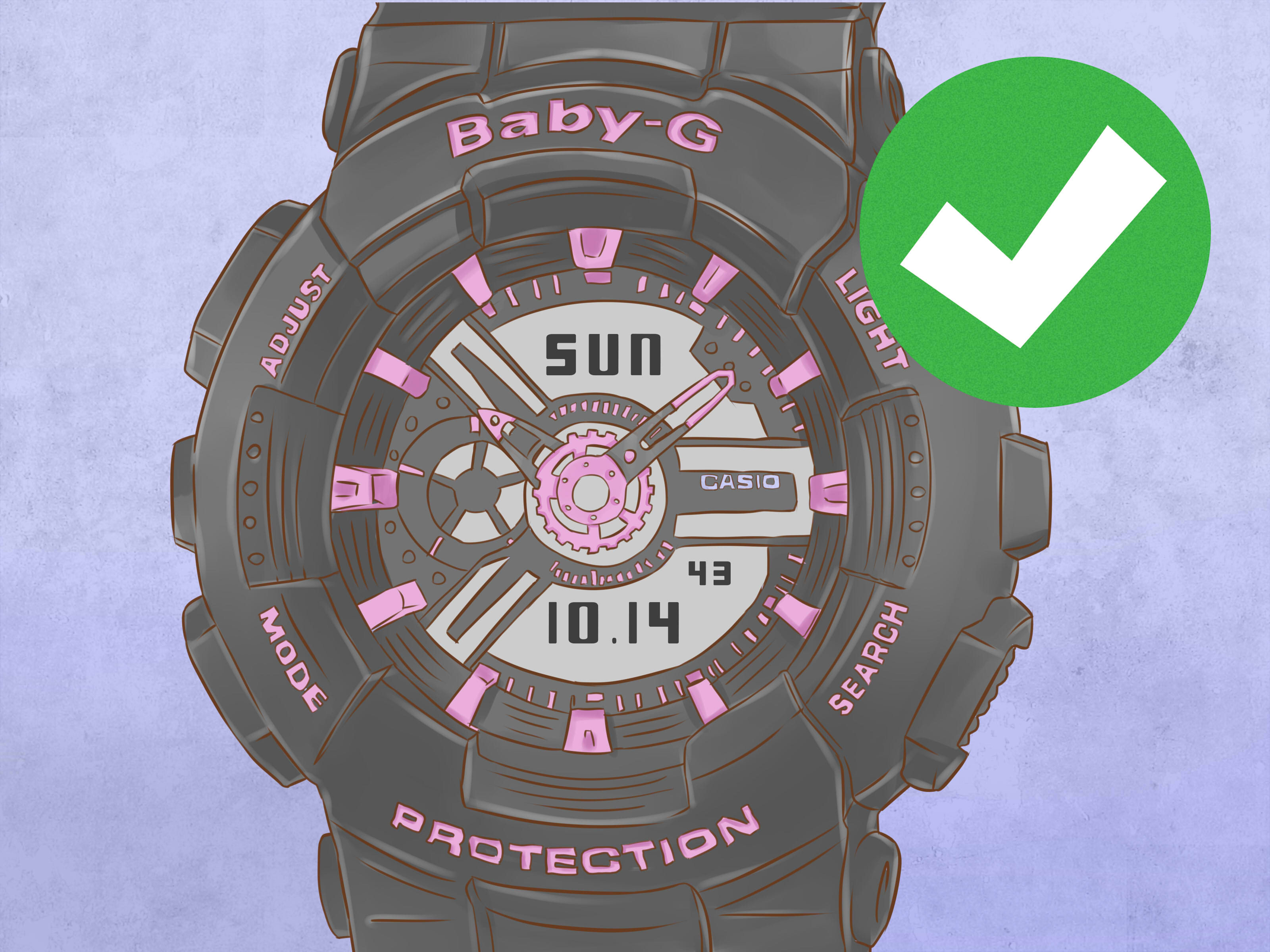baby g watch manual change time